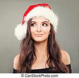 bonito, conceito, jovem, sorrir., mulher, santa, modelo, chapéu, natal
