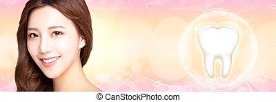 bonito, conceito, mulher jovem, dentes, sorrizo, branca