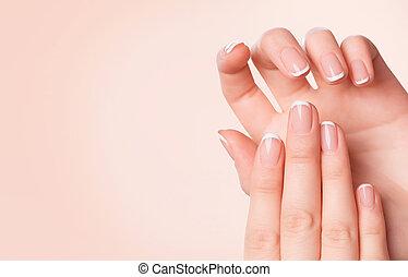 bonito, conceito, mulher, manicure, spa, hands.