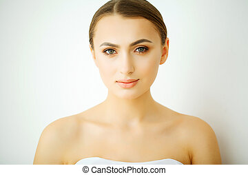 bonito, conceito, spa., beleza, pele, retrato, woman., cuidado