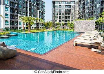 bonito, condomínio, piscina, natação