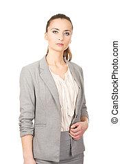 bonito, confiante, businesswoman.