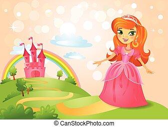 bonito, conto, fada, castelo, princesa