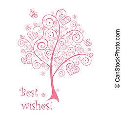bonito, cor-de-rosa, árvore