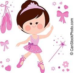 bonito, cor-de-rosa, bailarina, ilustração, girl., vetorial, cobrança