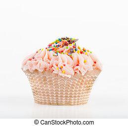 bonito, cor-de-rosa, cupcake, ligado, um, fundo branco