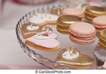 bonito, cor-de-rosa, e, branca, sobremesas, e, cupcakes