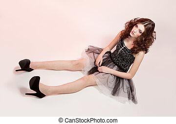 bonito, cor-de-rosa, estilo, mulher, boneca, fundo