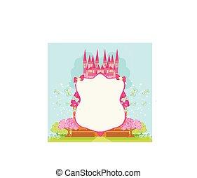bonito, cor-de-rosa, fairytale, castelo, quadro