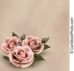 bonito, cor-de-rosa, illustration., buds., rosas, vetorial, retro, fundo