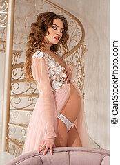 bonito, cor-de-rosa, menina, vestido, grávida