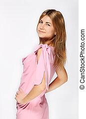 bonito, cor-de-rosa, menina, vestido, loura