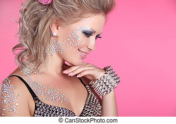 bonito, cor-de-rosa, moda, rosto, strasses, isolado, fundo, ...