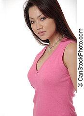bonito, cor-de-rosa, mulher