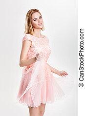 bonito, cor-de-rosa, mulher, coquetel, dançar, havin, loura, vestido