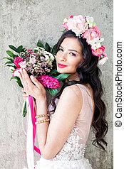 bonito, cor-de-rosa, mulher, modelo moda, flores