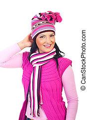 bonito, cor-de-rosa, mulher, roupas inverno