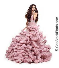 bonito, cor-de-rosa, mulher senhora, vestido, morena, luxuriante, isolado, longo, experiência., dress., estúdio, luxo, deslumbrante, posar, sorrindo, moda, branca