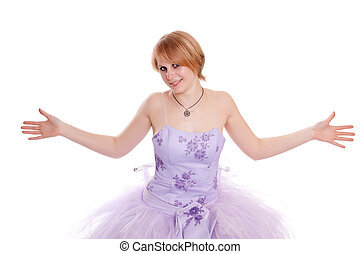 bonito, cor-de-rosa, mulher, vestido, jovem