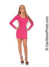 bonito, cor-de-rosa, mulher, vestido, loura