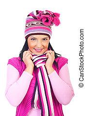 bonito, cor-de-rosa, mulher, woolen, boné, silenciador