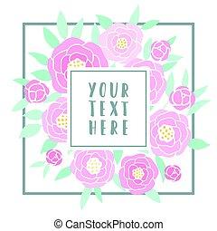 bonito, cor-de-rosa, peonies., cartão cumprimento