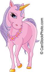 bonito, cor-de-rosa, unicórnio