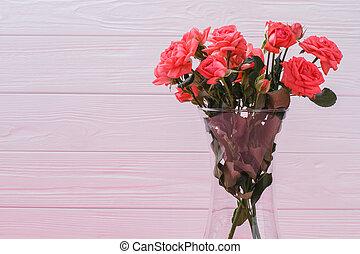 bonito, cor-de-rosa, vaso, rosas, water., flores