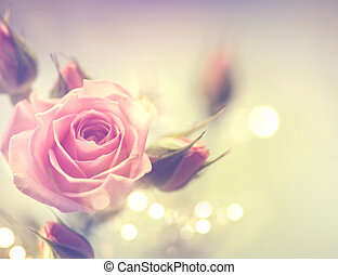 bonito, cor-de-rosa, vindima, rose., desenho, denominado, cartão