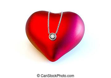 bonito, coração, diamante, amor, presente, ouro, símbolo, isolado, elegante, caro, pendente, valentine\'s, dia, presente