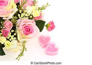 bonito, coração, espaço, velas, text., dois, isolado, cesta, flores brancas
