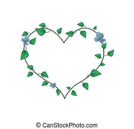 bonito, coração, folhas, videira, forma, flores