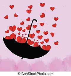 bonito, coração, guarda-chuva, cor-de-rosa, experiência preta, vermelho