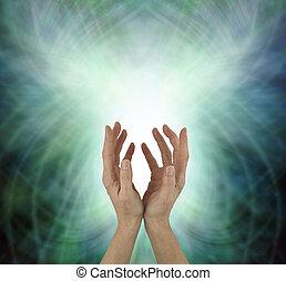 bonito, coração, irradiando, energia, cura, chakra