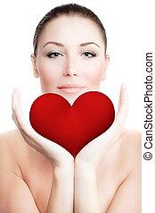 bonito, coração, mulher, grande, segurando, vermelho
