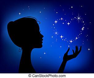 bonito, coração, mulher, silueta, estrela