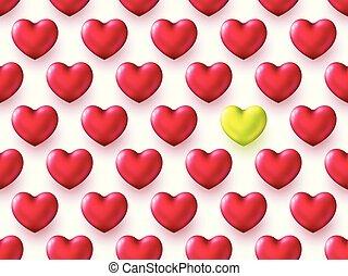 bonito, coração, ouro, valentine, metálico, experiência., forma, decorativo, hearts., realístico, grade, layout., dia, vermelho, 3d