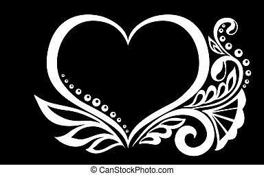 bonito, coração, silueta, renda, isolated., folhas, tendrils, flores, pretas, monocromático, branca