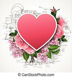 bonito, coração, valentines, ilustração, vetorial, flores, dia