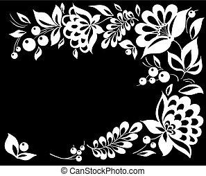 bonito, corner., flor branca, pretas