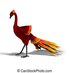 bonito, cortando, fantasia, sobre, feathers., pássaro, fazendo, caminho, branca, sombra, vermelho, 3d