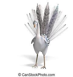 bonito, cortando, fantasia, sobre, feathers., pássaro, fazendo, caminho, sombra, branca, 3d