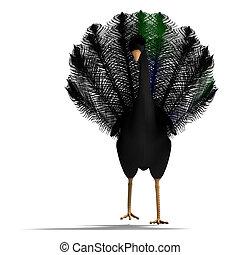 bonito, cortando, fantasia, sobre, feathers., pássaro, fazendo, pretas, caminho, branca, sombra, 3d