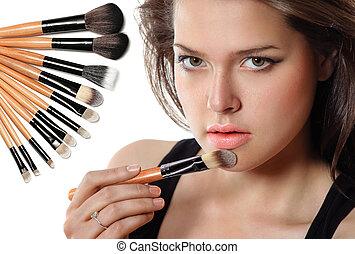 bonito, cosmetic., mulher, aplicando