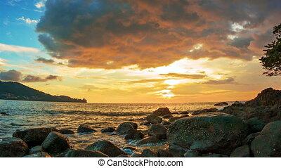 bonito, costa, sobre, oceânicos, tropicais, pôr do sol, pedras