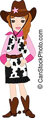 bonito, cowgirl, vetorial, jovem