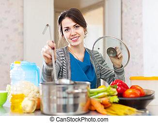 bonito, cozinhar, dona de casa, ladle