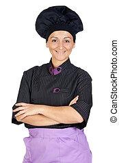 bonito, cozinheiro, mulher, com, uniforme preto