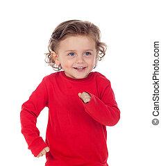 bonito, criança pequena, dois anos velho, desgastar, vermelho, jersey, em movimento, seu, braços