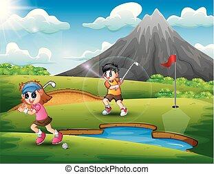 bonito, crianças, golfe, tocando, natureza